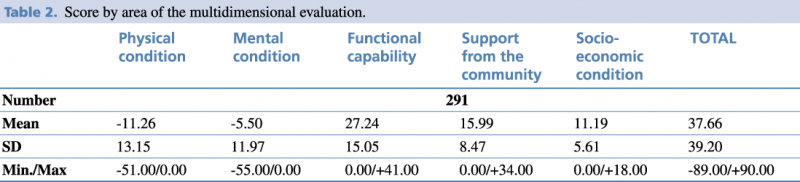 Table 2.Score by area of the multidimensional evaluation.