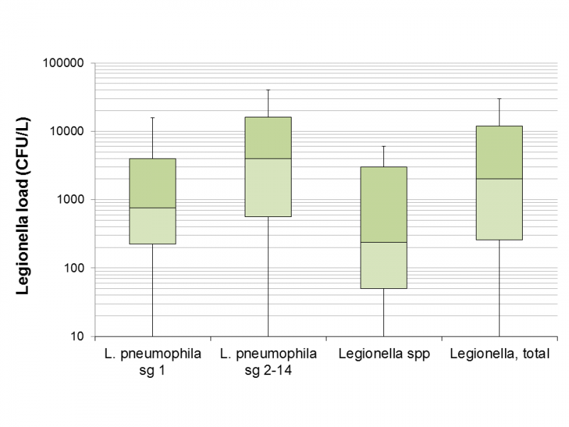 Figure 1 - Legionella load in samples found positive for Legionella based on the serogroup or species.